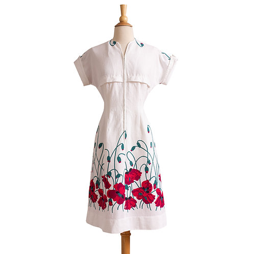 1940s Cotton Front-Zip Poppy Print Dress