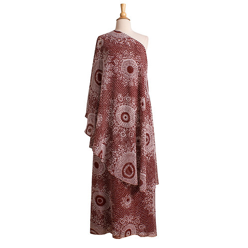 1970s Brown and White One Shoulder Maxi Dress