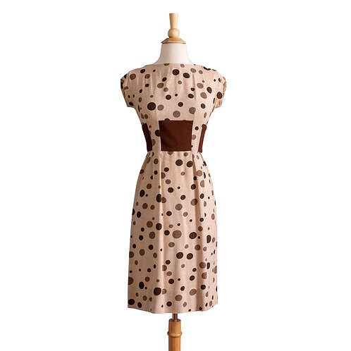 Front View of 1950s Polka Dot Sheath Dress