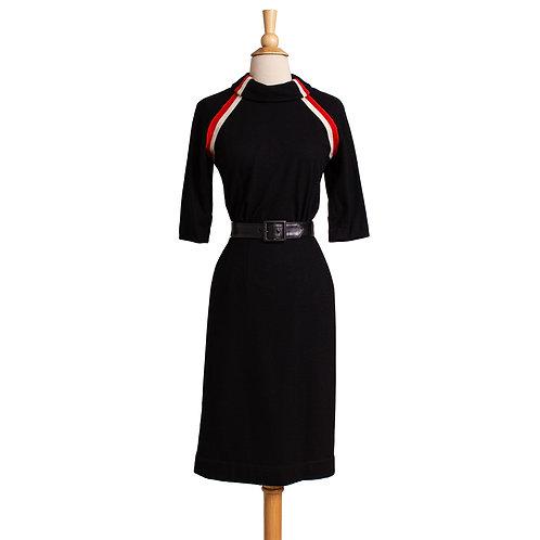 1950s Black Wool Jersey Sheath Dress by Howard Wolf
