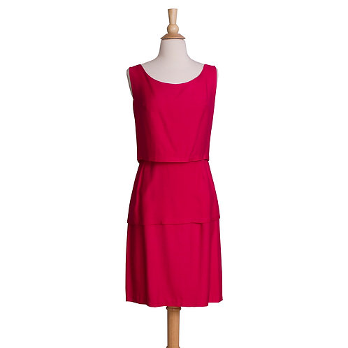 1960s Magenta Sheath Dress with Layered skirt front view