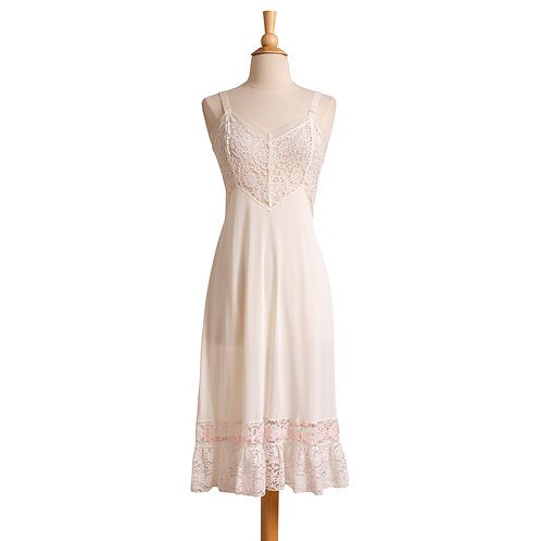 1950s White Nylon Slip with Pink Ribbon by Powers Model