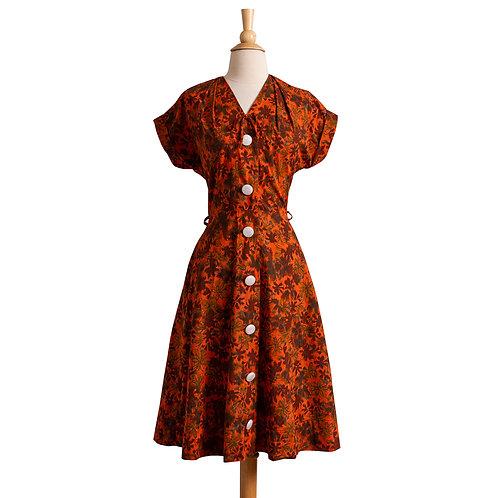 1950s Orange Floral Cotton Shirt Dress by Lee Wentley