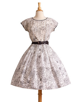 1950s Black and White Floral Day Dress