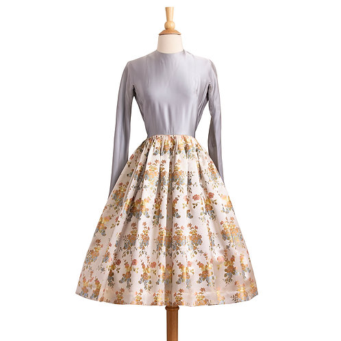 1950s Silk Evening Dress withe Blue Bodice and Floral Brocade Skirt, Front View