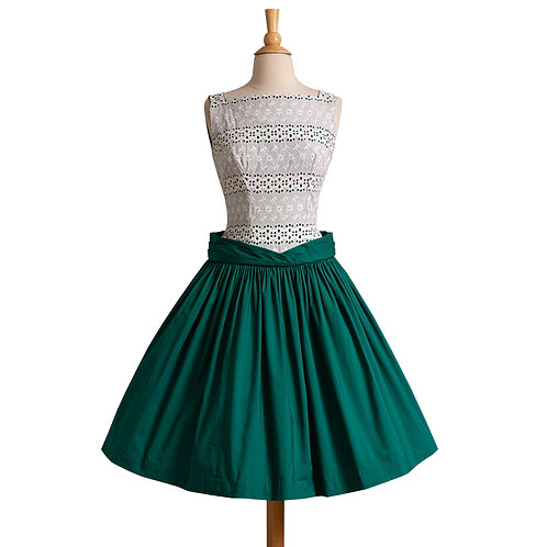 1950s Green and White Cotton Dress