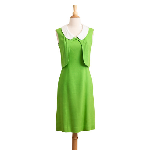 Front View of Vintage Lime Green Sheath Dress with White Collar