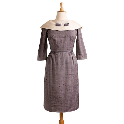 1950s/1960s Gray Sheath Dress with Large White Collar