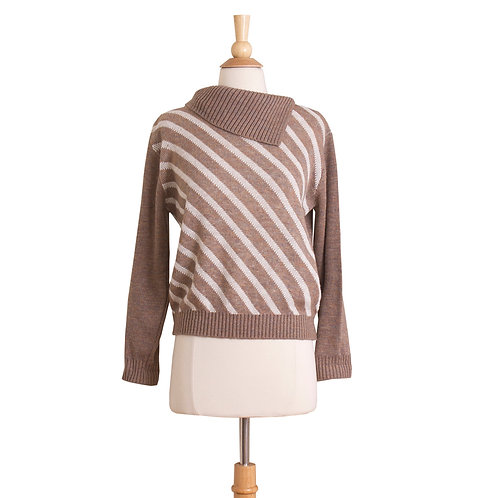 1970s brown sweater with white diagonal stripes front view