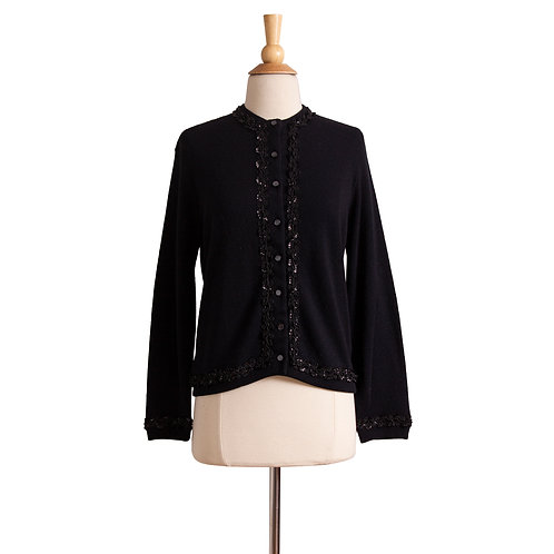 Front View of Black Vintage Cardigan
