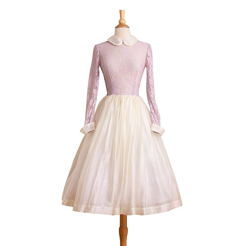1950s Dress with lilac lace bodice, white peter pan collar, and white organza skirt, front view