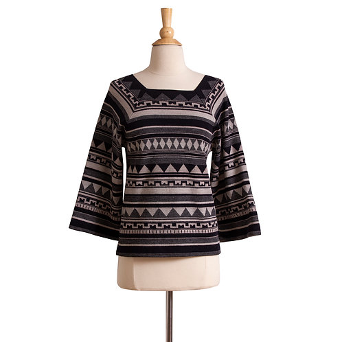 1970s Tribal Print Bell Sleeve Sweater