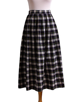 1980s Blue Plaid Flannel Midi Skirt