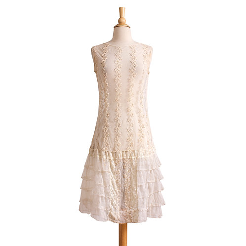 1920s Cream Net and Lace Dress
