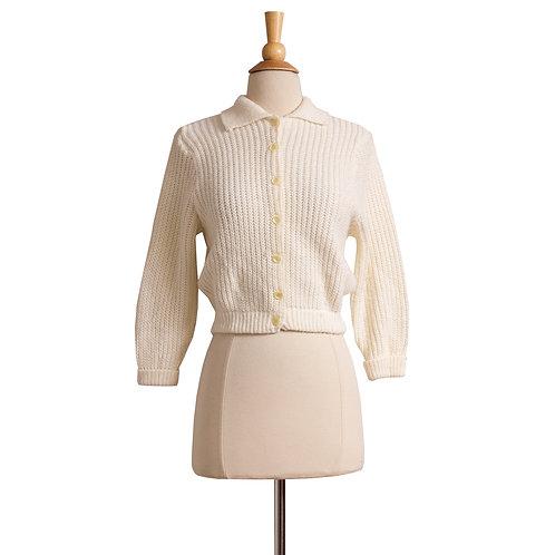 1950s Cream White Cardigan Sweater