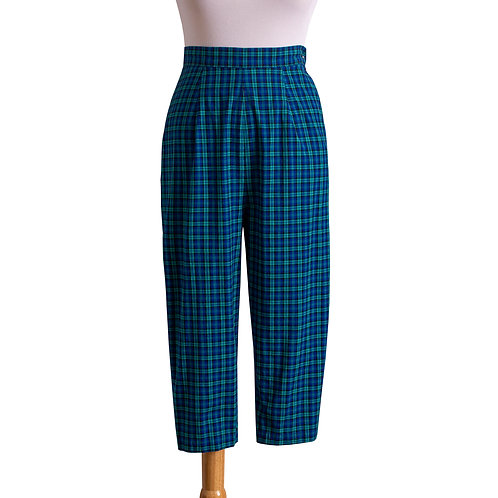 1950s Blue and Green Plaid Pedal Pushers