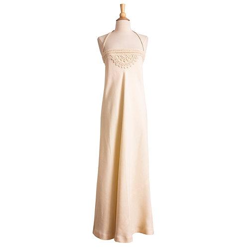1970s Cream Linen Maxi Halter Dress by Anne Klein