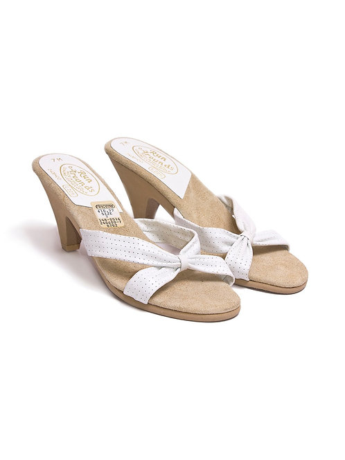 Vintage white and beige slip-on sandals