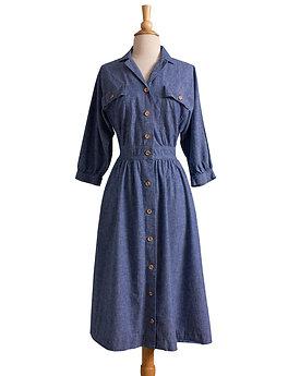 1980s Blue Chambray Cotton Shirt Dress