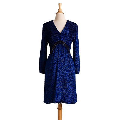 Front View of Blue Burn Out Velvet Party Dress