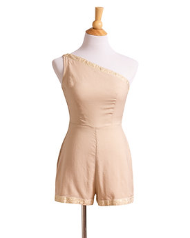 1950s Single Shoulder Linen Playsuit by Deala of Miami