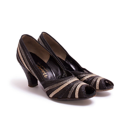 1950s Black and Gray Peep Toe Pumps