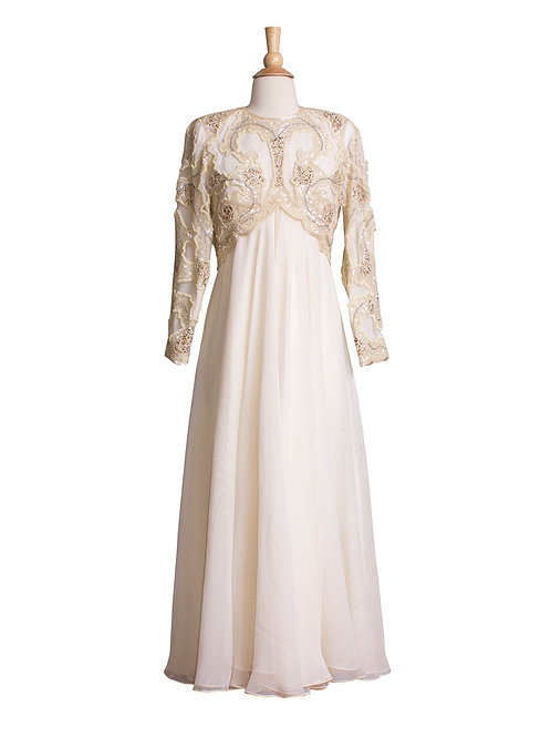 Vintage Cream chiffon winter wedding gown with beaded bodice front view