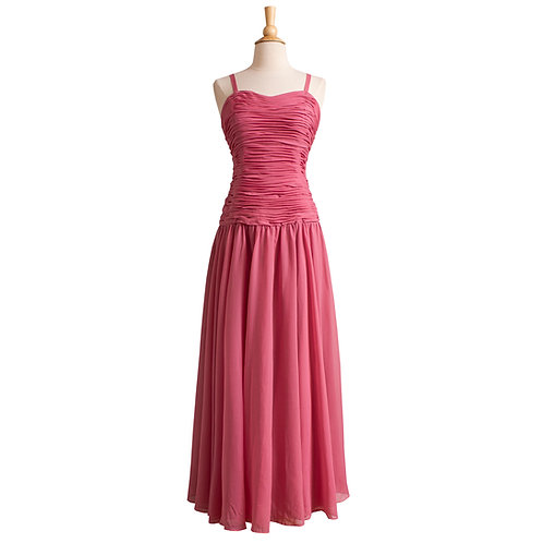 1950s Rose Pink Silk Chiffon Gown