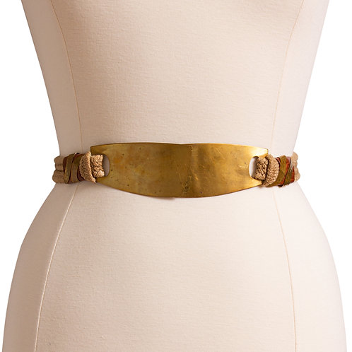 1980s Brass and Rope Cinch Belt