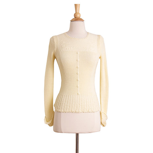 1970s cream lace knit sweater front view