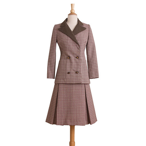 vintage brown and pink gingham plaid skirt suit front view