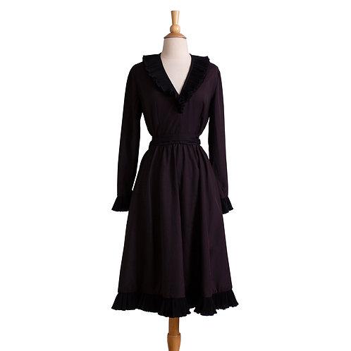 Front View of Designer Vintage Black Ruffled Dress