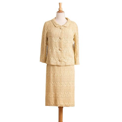 1960s Cream Lace Dress Suit, Front View