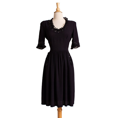 Late 1930s Black Crepe Rayon Dress with Sequins
