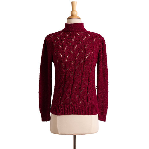1970s Burgundy Knit Pullover