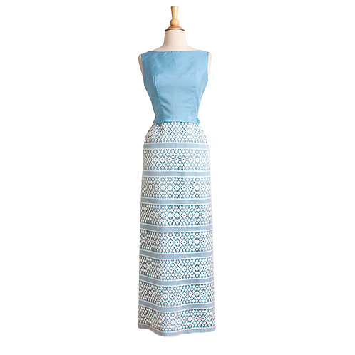 1960s Blue and White Maxi-Length Evening Dress by Nadine