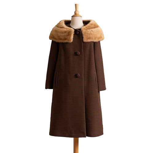 1960s Brown Wool Swing Coat with Mink Collar