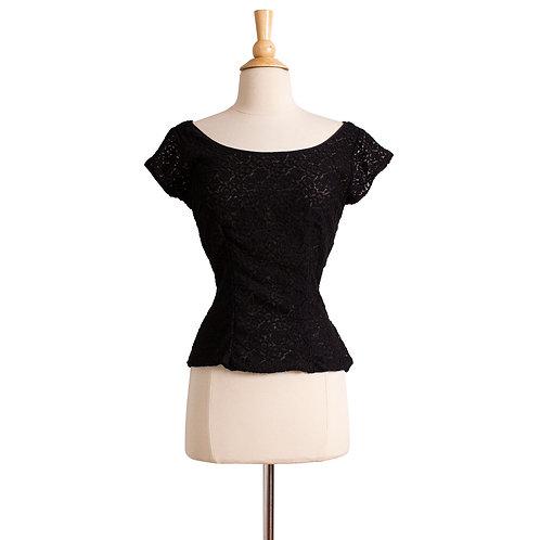 1950s Black Lace Blouse