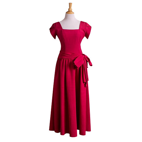 1940s Magenta Rayon Faille Evening Gown