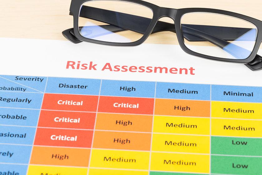 Risk management matrix chart with glasse