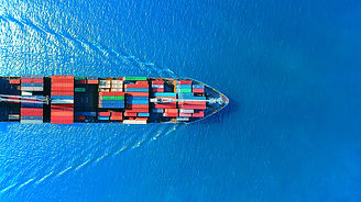 Aerial top view container ship full load