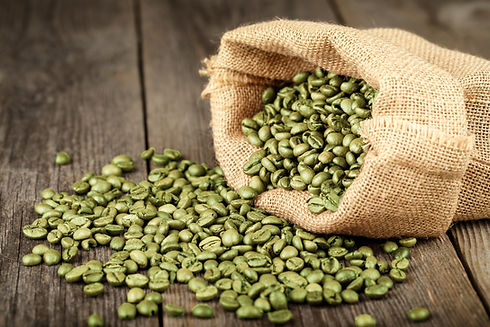 Green coffee beans in coffee bag made fr