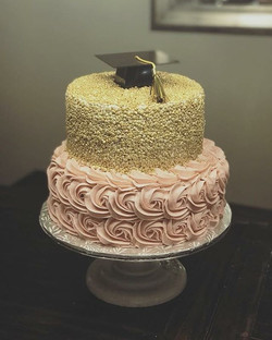 Gold and Pink Grad Cake