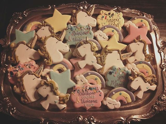 Rainbow Wishes & Unicorn Kisses 🦄💜🦄 #rainbow #unicorn #unicornparty #cookies