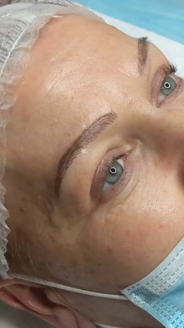 straight after microblading at Beyond La