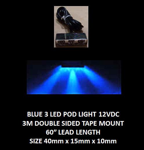 "Blue LED 3 Pod LED light 60"" leads 12VDC [AIX-3POD-B]"