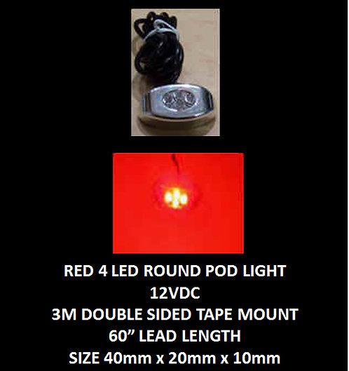 "Red LED 4 Pod LED light 60"" leads 12VDC [AIX-4POD-R]"