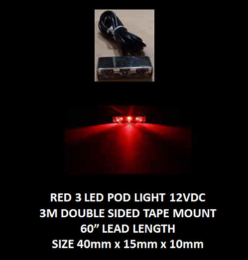 "Red LED 3 Pod LED light 60"" leads 12VDC [AIX-3POD-R]"
