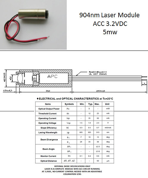 904nm 905nm 5mW laser module 3.2VDC w/ adj. lens [AIX-904-5]