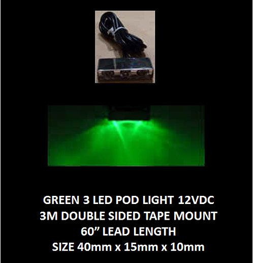 "Green LED 3 Pod LED light 60"" leads 12VDC [AIX-3POD-G]"